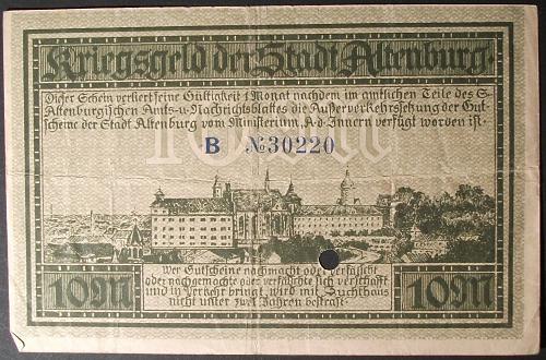 1918 Germany/Altenburg 10 Marks Fine