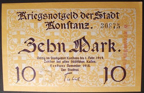 1918 Germany/Konstanz 10 Mark XF-AU
