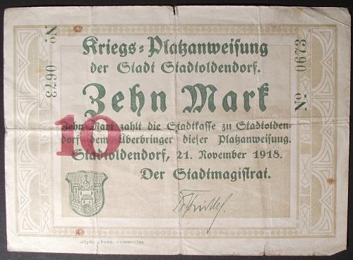 1918 Germany/Oldendorf 10 Mark Fine