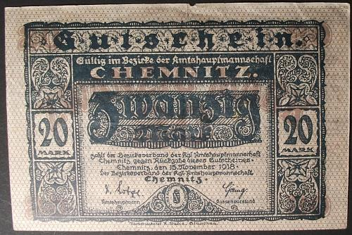 1918 Germany/Chemnitz 20 Marks F-VF