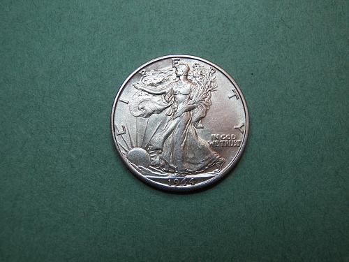 1944 D Walking Liberty Half Dollar Almost Uncirculated Coin   v14