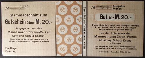 Mannesmannröhren-Werke, Schulz Knaudt 20 Mark Pay Voucher XF