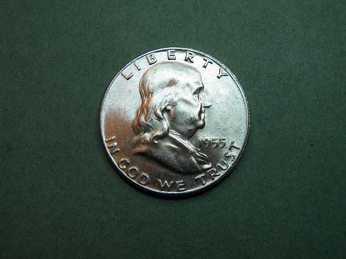 1955 P Franklin Half Dollar Brilliant Uncirculated Coin   v37