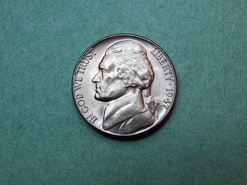 1947 D Jefferson Nickel Brilliant Uncirculated Coin   v28