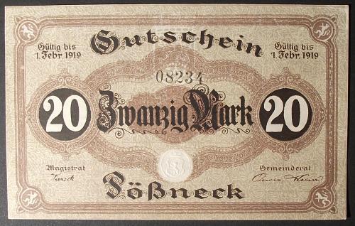 1919 Germany/Posneck 20 Mark AU