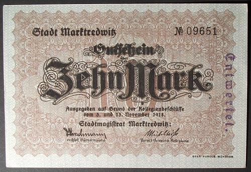1918 Germany/Marktredwitz 10 Marks AU