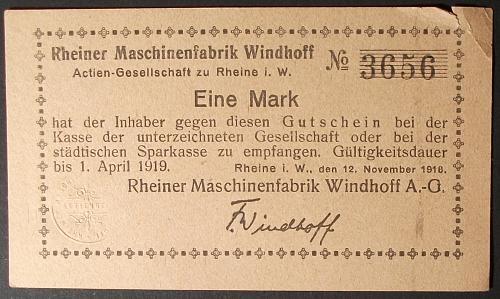 191 Germany, Windhoff Machine Factory Mark VF+