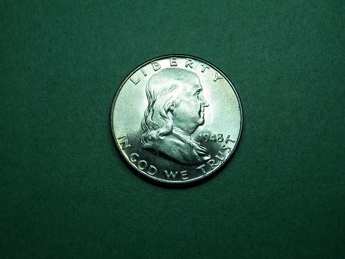1948 P Franklin Half Dollar Brilliant Uncirculated Coin   v17