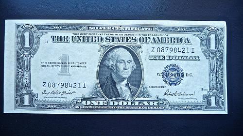 1935-F  Silver Certificate   $1.00