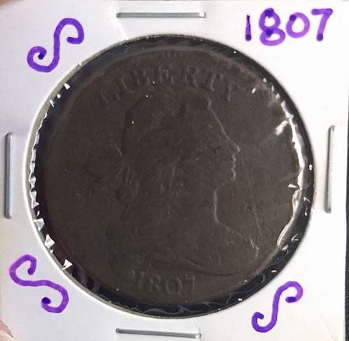 1807 draped bust large cent- lg. fraction