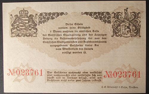 1918 Germany/Meissen 20 Mark AU++