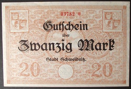 1918 Germany/Schweidnitz 20 Mark AU