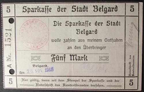 1918 Germany/Belgard 5 Mark VF+