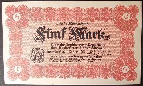 1918 Germany/Remscheid 5 Mark AU