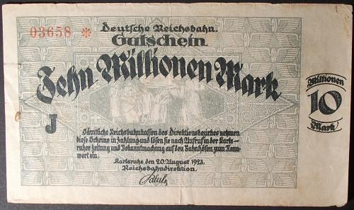 Germany S1269 10 Million Mark VF Railroad Note, Karlsruhe