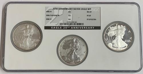 20th Anniversary Silver Eagle Set: 2006-W MS69, 206-P Rev. PF PF69, 2006-W PF69
