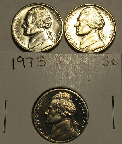 1973 P,D&S Jefferson Nickels in BU and Proof condition