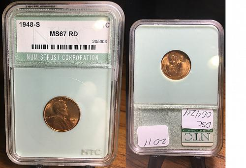 1948-S Lincoln Wheat cent NTC Graded MS67 RD