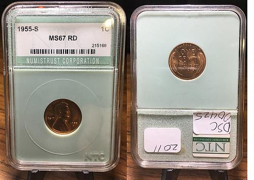 1955-S Lincoln Wheat cent NTC Graded MS67 RD
