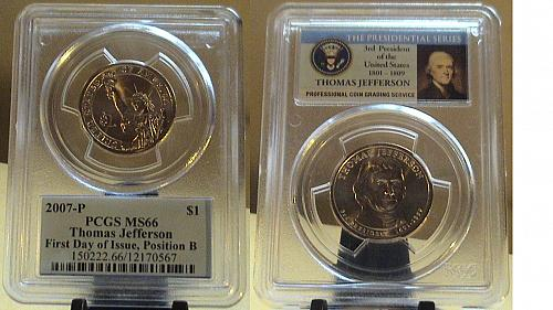2007-P PCGS MS66 Tomas Jefferson Pos. B First day issue