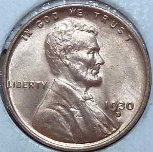 1930-D Gem BU RED Lincoln Wheat Cent (52934)