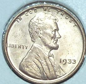 1933-P Gem BU RED Lincoln Wheat Cent (52941)