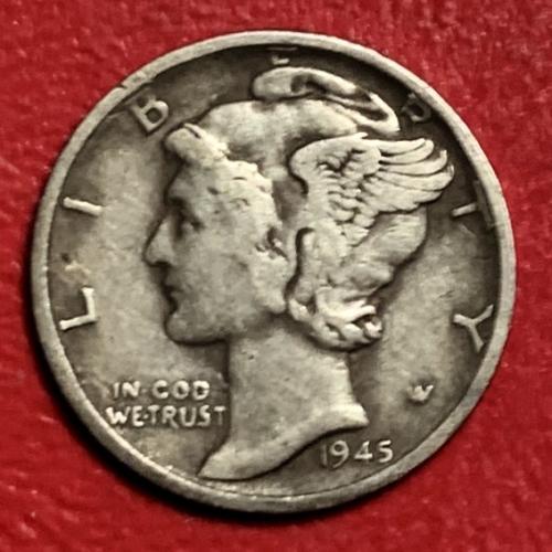 1945S Mercury Dime (micro s )