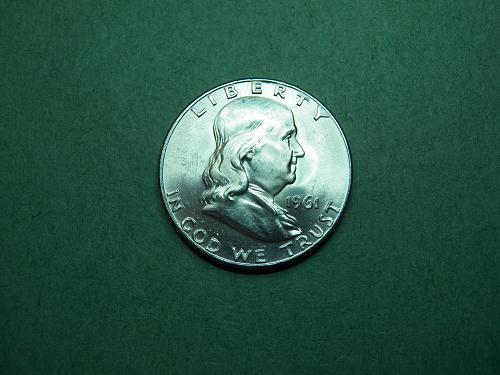 1961 D Franklin Half Dollar Brilliant Uncirculated Coin   v45