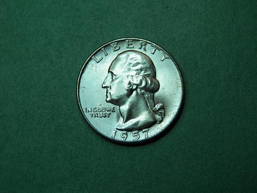 1957 D Washington Quarter Brilliant Uncirculated Coin   v47
