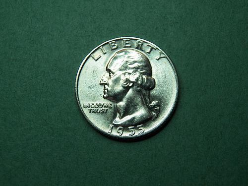 1955 D Washington Quarter Brilliant Uncirculated Coin   v66