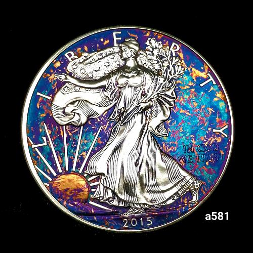 2015 Rainbow Toned Silver American Eagle 1 troy ounce silver Monster toned #a581