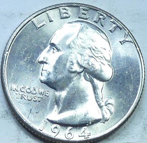 1964-P BRILLIANT UNCIRCULATED Washington Quarter  BU # (175)