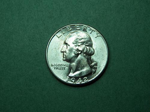 1942 P Washington Quarter Brilliant Uncirculated Coin   v63