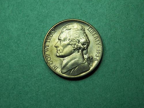 1938 D Jefferson Nickel Brilliant Uncirculated Coin   v53