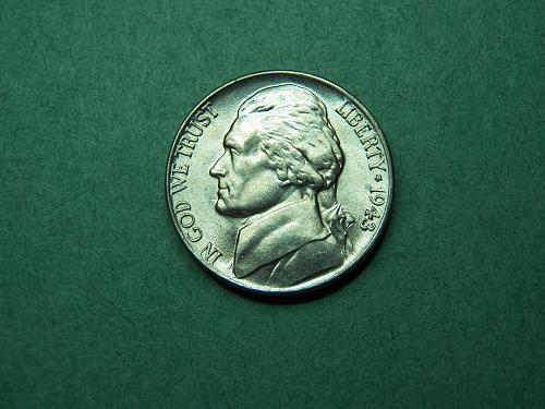 1943 P Jefferson War Nickel BU Coin   v56