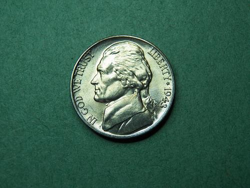 1943 D Jefferson War Nickel Brilliant Uncirculated Coin   v57