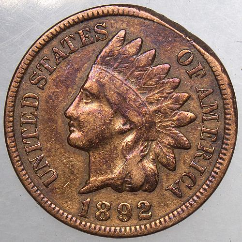 1892 P Indian Head Cent #21 Cleaned Toned Clipped