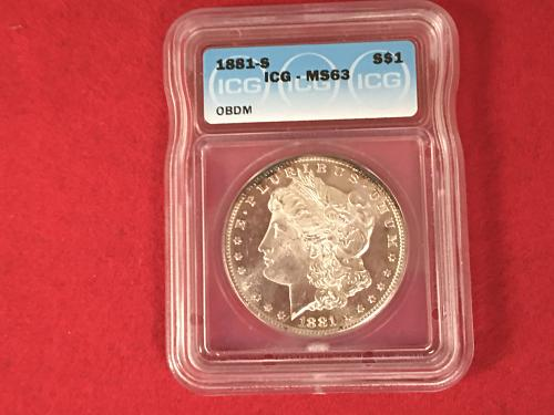 1881 S Morgan Silver Dollar ICG MS63 Obverse Deep Mirror Mint State BU FREE SHIP