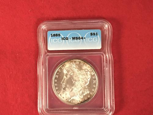1885 Morgan Silver Dollar ICG MS64+ Mint State Uncirculated BU FREE SHIPPING!