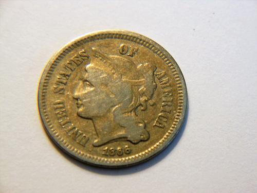 1866 3 Cent Nickel with Die Clash Error on obverse side