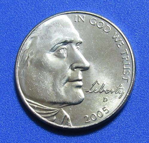 2005-D 5 Cents - Jefferson NIckel - American Bison - Uncirculated from Mint Roll