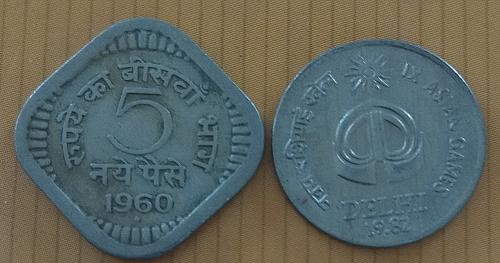 B)..Two different..India circulated coins