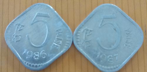N)....2 different..India Cir. coins..1986-87