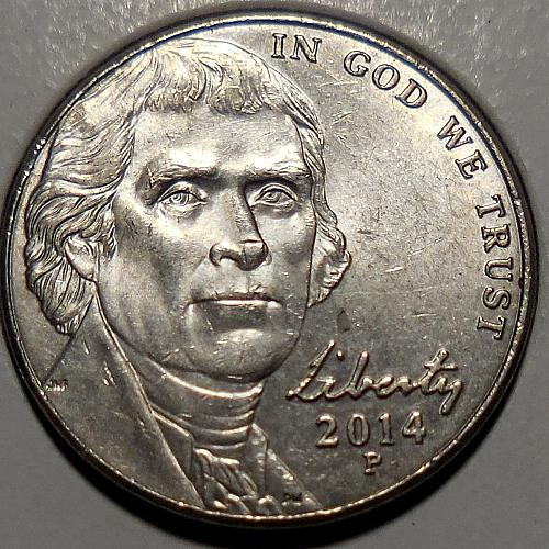 2014-P Jefferson Nickel Class VIII Doubled Die Reverse