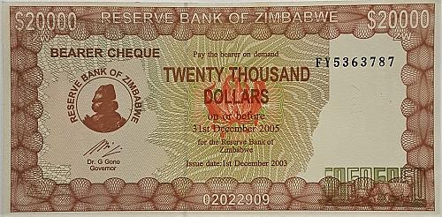 ZIMBABWE 2003 20,000 DOLLARS BEARER CHEQUE WORLD PAPER MONEY