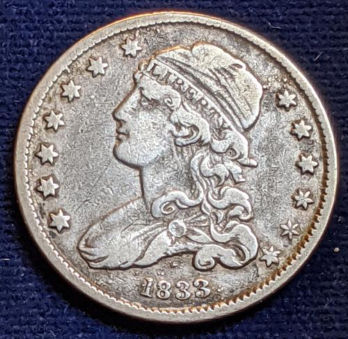 1833 VERY FINE ++ CAPPED BUST QUARTER