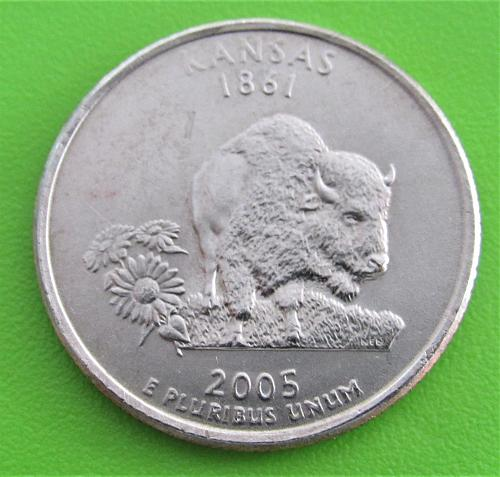 2005-P 25 Cents - Kansas State Quarter - Uncirculated from Mint Roll