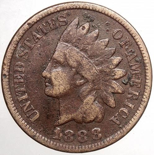 1888 P Indian Head Cent #34  Corrosion as shown. Cleaned