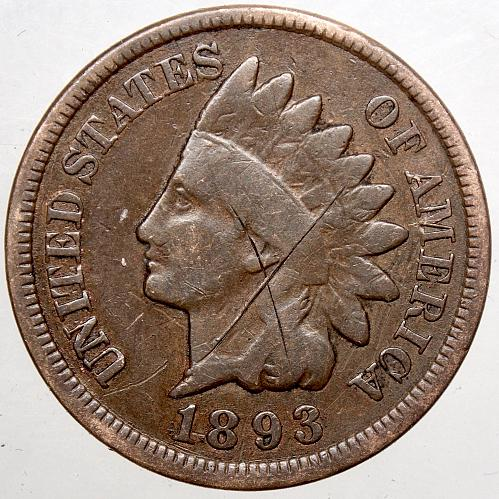 1893 P Indian Head Cent #17  Obverse has been tooled. Reverse was cleaned.