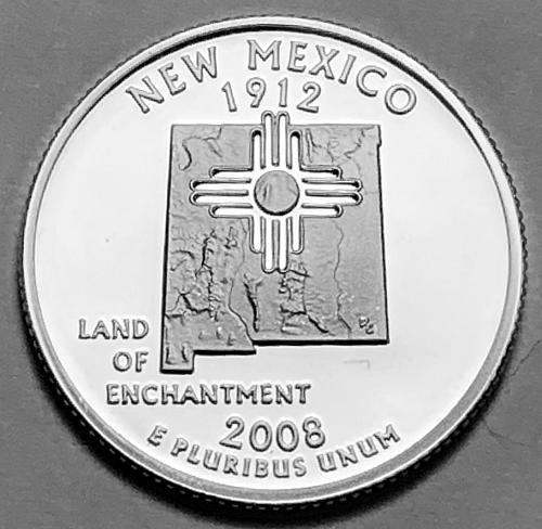 2008-S Silver Proof Quarter: 50 States- New Mexico [BSWQ 169]